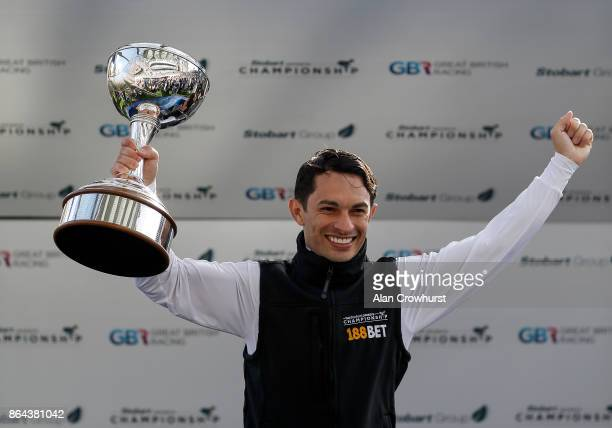Silvestre De Sousa is crowned flat Champion Jockey at Ascot racecourse on QIPCO British Champions Day on October 21 2017 in Ascot United Kingdom