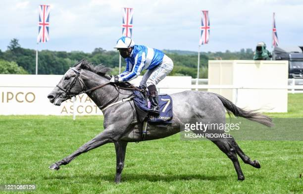 Silvestre De Sousa on Art Power wins the Palace of Hollyroodhouse Handicap on day four of the Royal Ascot horse racing meet, in Ascot, west of...