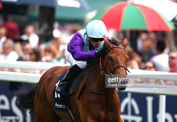 Silvestre De Sousa rides Arabian Queen to win The Princess Elizabeth Stakes at Epsom racecourse on June 05 2015 in Epsom England