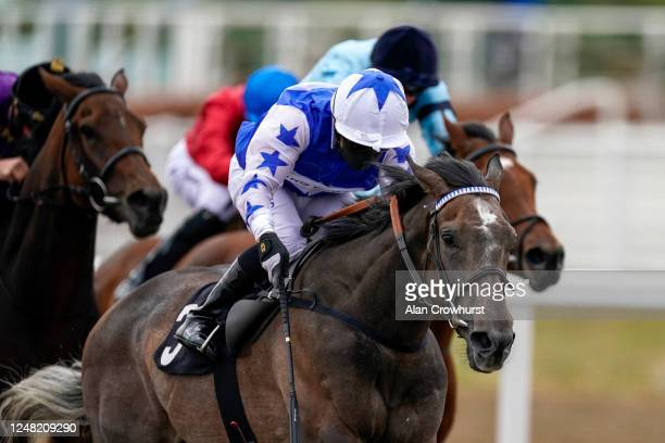 Silvestre De Sousa riding Angel Power win The British Stallion Studs EBF Fillies' Novice Stakes at Chelmsford City Racecourse on June 08, 2020 in...
