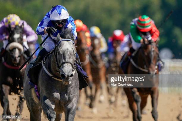 Silvestre De Sousa riding Art Power win The Betway Novice Stakes at Newcastle Racecourse on June 01, 2020 in Newcastle upon Tyne, England....