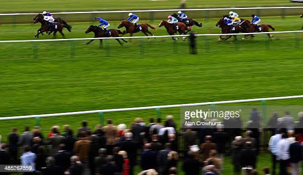 Silvestre De Sousa riding Basem win The Swan At Lavenham Wood Ditton Stakes at Newmarket racecourse on April 17 2014 in Newmarket England