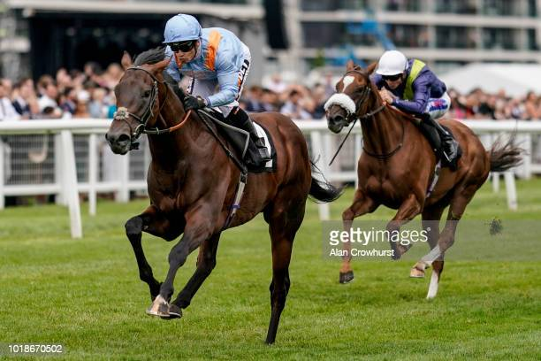 Silvestre De Sousa riding Boitron win The Denford Stakes at Newbury Racecourse on August 18 2018 in Newbury United Kingdom