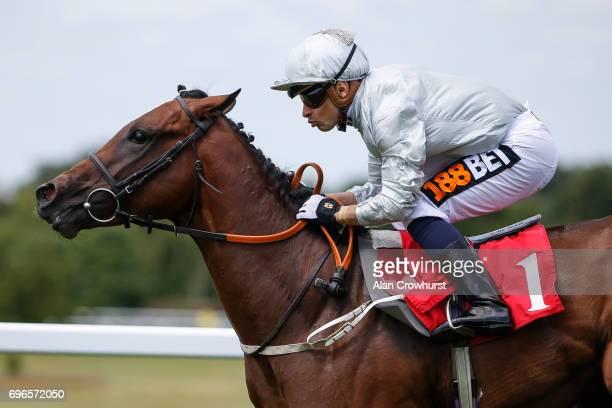 Silvestre De Sousa riding Branscombe win The British Stallion Studs EBF Novice Stakes at Sandown racecourse on June 16 2017 in Esher England