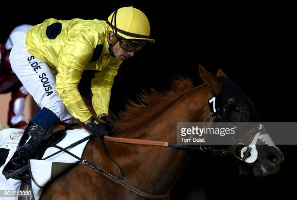 Silvestre De Sousa riding Daffg wins the District One Trophy race during the Meydan Races at the Meydan Racecourse on January 4 2018 in Dubai United...