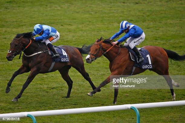 Silvestre De Sousa riding Danielsflyer win The Hot Streak Handicap Stakes at Newmarket Racecourse on May 6 2017 in Newmarket England