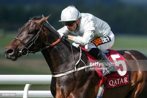 Silvestre De Sousa riding Dee Ex Bee win The Qatar EBF Stallions Maiden Stakes on day five of the Qatar Goodwood Festival at Goodwood racecourse on...
