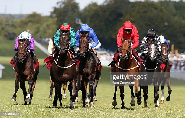 Silvestre De Sousa riding Enlace win The Qatar Stakes at Goodwood racecourse on August 01 2015 in Chichester England