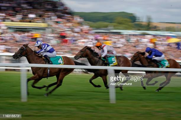Silvestre De Sousa riding Fox Chairman win The bet365 Stakes at Newbury Racecourse on July 20, 2019 in Newbury, England.