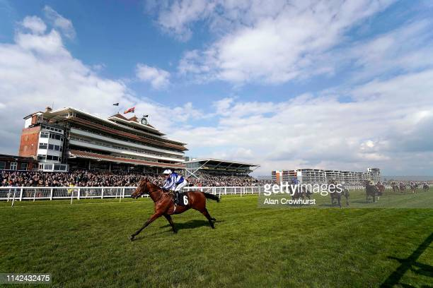 Silvestre De Sousa riding Fox Chairman wins The Dubai Duty Free Tennis Championships Maiden Stakes at Newbury Racecourse on April 13 2019 in Newbury...
