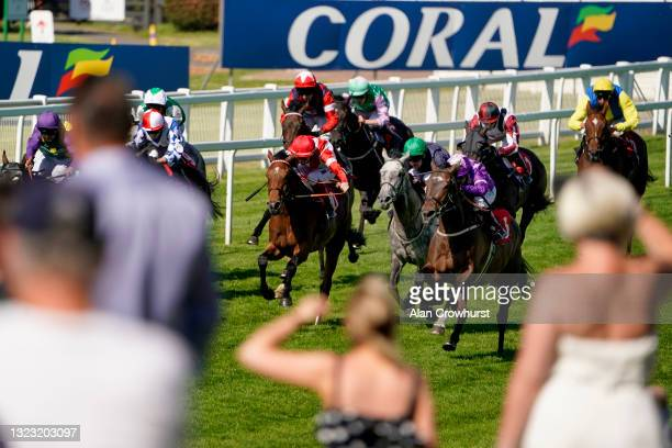 Silvestre De Sousa riding General Zoff win The Coral Backing Prostate Cancer UK Handicap at Sandown Park Racecourse on June 12, 2021 in Esher,...