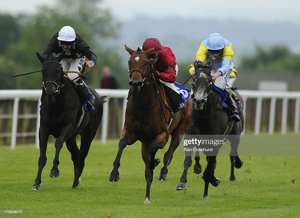 Silvestre De Sousa riding Lyric Ballad (C) win The British Stallion Studs EBF Margadale Fillies' Handicap Stakes at Salisbury racecourse on June 11, 2013 in Salisbury, England.