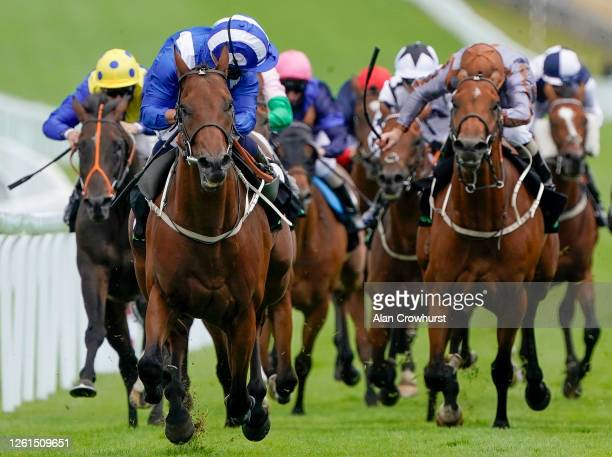 Silvestre De Sousa riding Maydanny win The Unibet You're On Handicap at Goodwood Racecourse on July 28, 2020 in Chichester, England. Owners are...