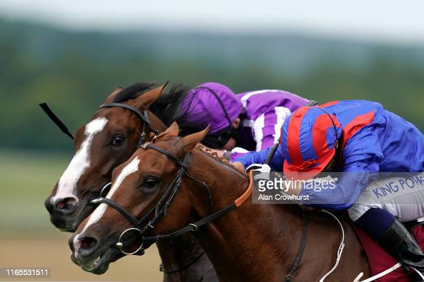 Silvestre De Sousa riding Nayef Road win The Qatar Gordon Stakes from Constantinople at Goodwood Racecourse on August 01, 2019 in Chichester, England.
