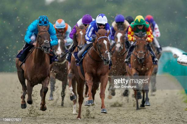 Silvestre De Sousa riding Premier Power turns into the straight to win The Betway Novice Stakes at Lingfield Park Racecourse on August 27, 2020 in...