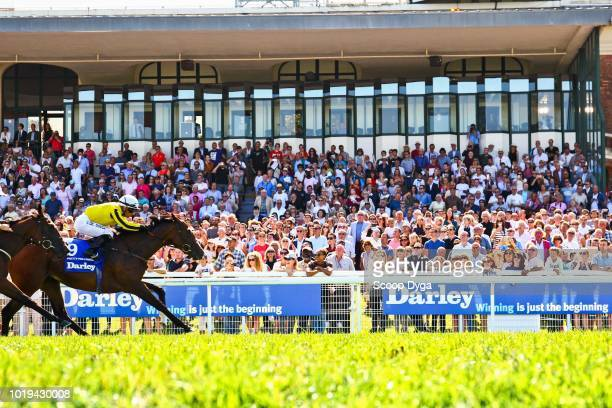 Silvestre de Sousa riding Pretty Pollyanna trainer Michell Bell owner TCO Gredley during the Prix Darley Morny at Hippodrome De Deauville on August...