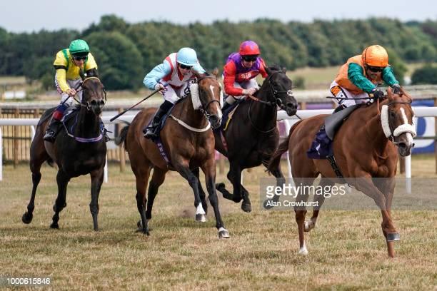Silvestre De Sousa riding Show Stealer win The Rainbow Casino Birmingham Fillies' Handicap Stakes at Bath Racecourse on July 17 2018 in Bath United...