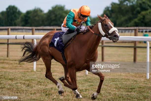 Silvestre De Sousa riding Show Stealer win The Rainbow Casino Birmingham Fillies' Handicap Stakes at Bath Racecourse on July 17, 2018 in Bath, United...