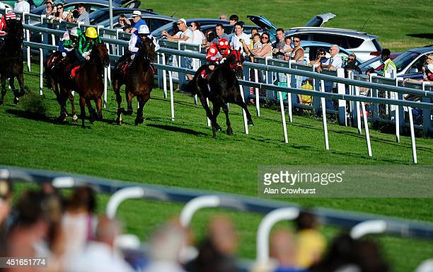 Silvestre De Sousa riding Swiss Cross win The totepool Supporting The Sport You Love Handicap Stakes at Epsom racecourse on July 03 2014 in Epsom...