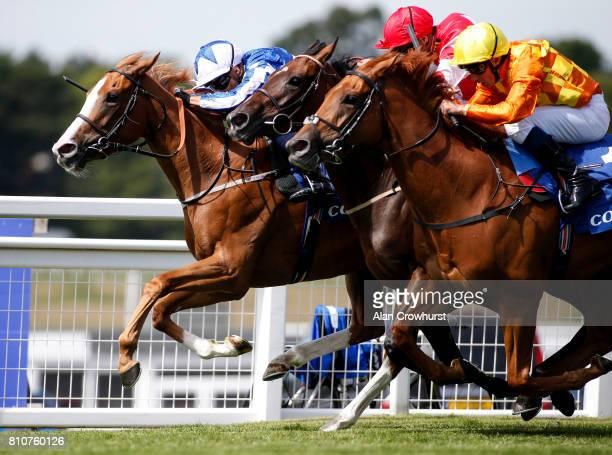 Silvestre De Sousa riding Tisbutadream win The Coral Distaff at Sandown Park racecourse on July 8 2017 in Esher England