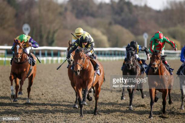 Silvestre De Sousa riding Zamjar win The 188Bet Daily Racing Specials Handicap Stakes at Lingfield Park racecourse on April 6 2018 in Lingfield...