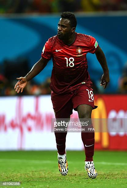 Silvestre Varela of Portugal celebrates after scoring the team's second goal during the 2014 FIFA World Cup Brazil Group G match between USA and...