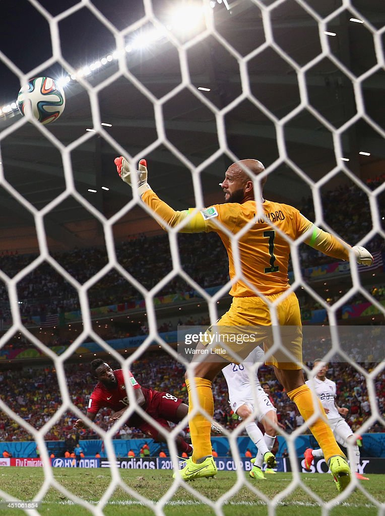 Silvestre Varela of Portugal scores his team's second goal on a header past Tim Howard of the United States during the 2014 FIFA World Cup Brazil Group G match between the United States and Portugal at Arena Amazonia on June 22, 2014 in Manaus, Brazil.