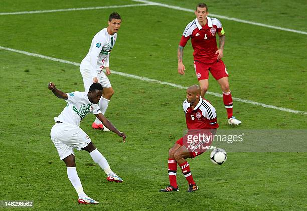 L'VIV UKRAINE JUNE 13 Silvestre Varela of Portugal scores their third goal during the UEFA EURO 2012 group B match between Denmark and Portugal at...
