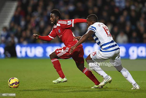 Silvestre Varela of West Brom is closed down by Nedum Onuoha of QPR during the Barclays Premier League match between Queens Park Rangers and West...