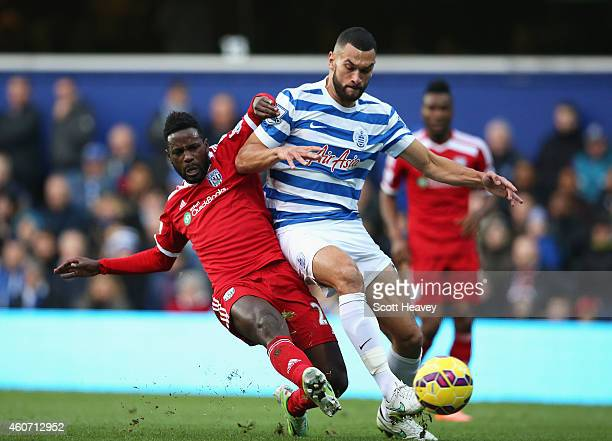 Silvestre Varela of West Brom scores his team's second goal during the Barclays Premier League match between Queens Park Rangers and West Bromwich...