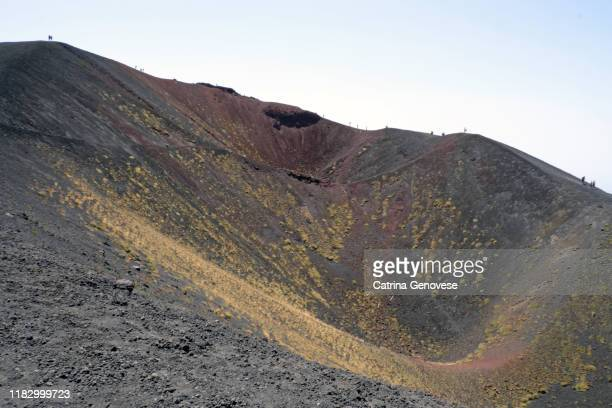 silvestri craters, lateral cones and flow form calderas,  from mount etna (volcano), sicily, italy. - vista lateral stock pictures, royalty-free photos & images