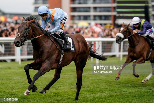 Silvestrre De Silvestre De Sousa riding Boitron win The Denford Stakes at Newbury Racecourse on August 18 2018 in Newbury United Kingdom
