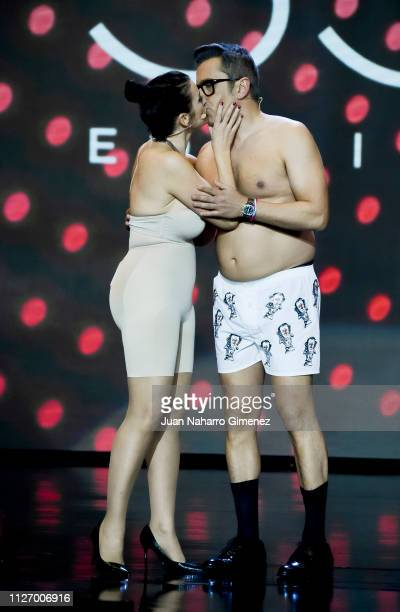 Silvia Abril and Andreu Buenafuente attend the 33rd edition of the 'Goya Cinema Awards' ceremony at Palacio de Congresos y Exposiciones FIBES on...
