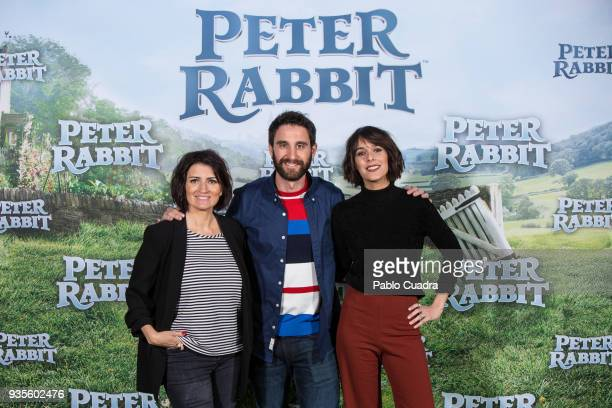 Silvia Abril Dani Rovira and Belen Cuesta attend the Peter Rabbit photocall at Sony offices on March 21 2018 in Madrid Spain