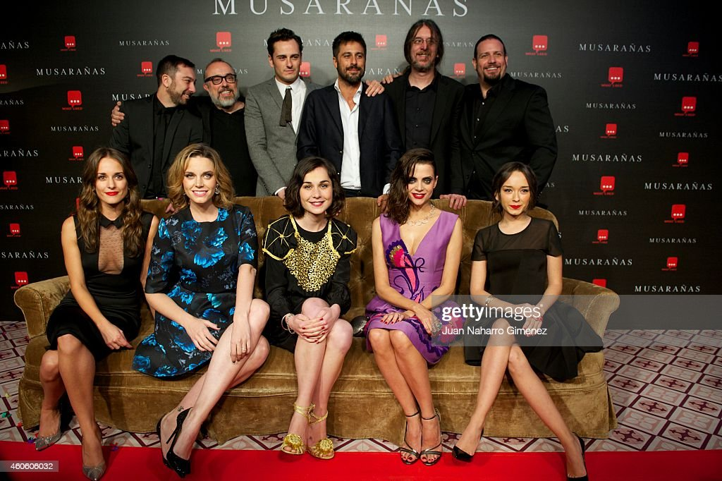 Silvia Alonso, Carolina Bang, Nadia de Santiago, Macarena Gomez, Lucia de la Fuente, Alex de la Iglesia, Asier Etxeandia and Hugo Silva attend the 'Musaranas' premiere at the Capitol cinema on December 17, 2014 in Madrid, Spain.