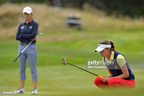 Silvia Banon of Spain lines up a putt on the 13th green during the team competition mixed foursomes stroke play during day four of the European Golf...