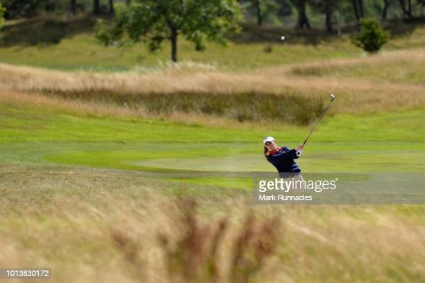 Silvia Banon of Spain plays her second shot on hole twelve during match 4 of Group A during day two of the European Golf Team Championships at...