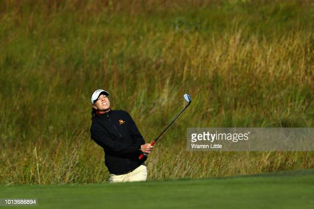 Silvia Banon of Spain plays onto the green on hole one during match 4 of group A during day two of the European Golf Team Championships at Gleneagles...