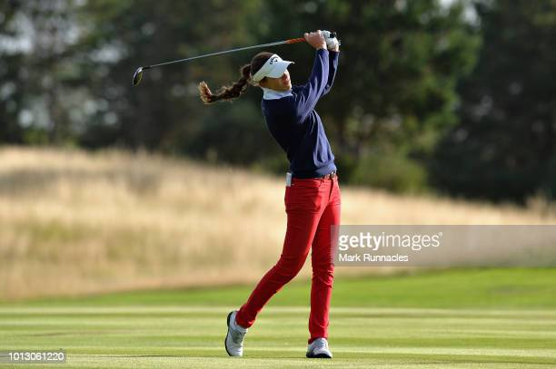 Silvia Banon of Spain takes her second shot on hole two during match 1 of Group A during day one of the European Golf Team Championships at...