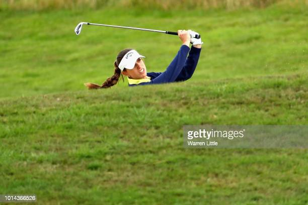 Silvia Banon of Spain takes her second shot on hole two during match 6 of Group A during day three of the European Golf Team Championships at...