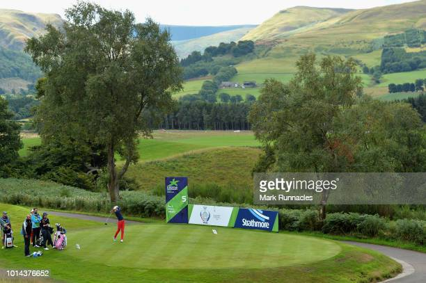 Silvia Banon of Spain takes her tee shot on hole five during match 6 of Group A during day three of the European Golf Team Championships at...