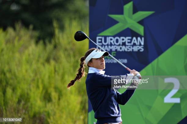 Silvia Banon of Spain takes her tee shot on hole two during match 1 of Group A during day one of the European Golf Team Championships at Gleneagles...