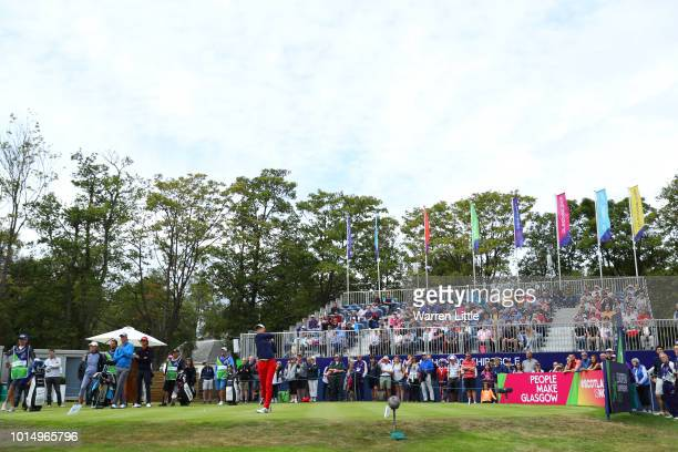 Silvia Banon of Spain tees off on the 1st hole during the team competition mixed foursomes stroke play during day four of the European Golf Team...