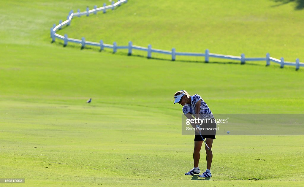 Silvia Callaveri of Italy plays a shot on the 10th hole during the second round of the Pure Silk-Bahamas LPGA Classic at the Ocean Club course on May 25, 2013 in Paradise Island, Bahamas.