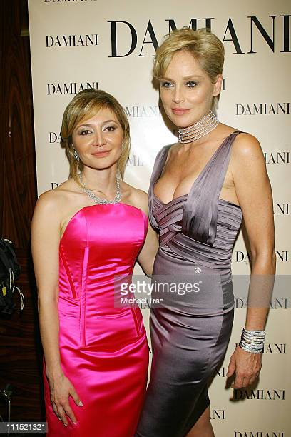 Silvia Damiani Vice President Damiani Group and actress Sharon Stone attend the grand opening of the Damiani store on Rodeo Drive and a press...