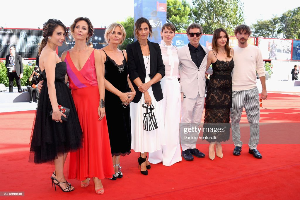 Silvia D'amico, Carlotta Natoli, Isabella Ferrari, Anna Foglietta, Barbora Bobulova, Francesco Patierno, Anita Caprioli and Michele Riondino from the movie 'Diva!' walk the red carpet ahead of the 'Foxtrot' screening during the 74th Venice Film Festival at Sala Grande on September 2, 2017 in Venice, Italy.