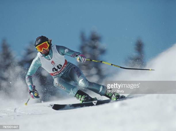 Silvia del Rincon of Spain skiing in the Women's Giant Slalom competition on 19 February 1992 during the XVI Olympic Winter Games at Meribel,...