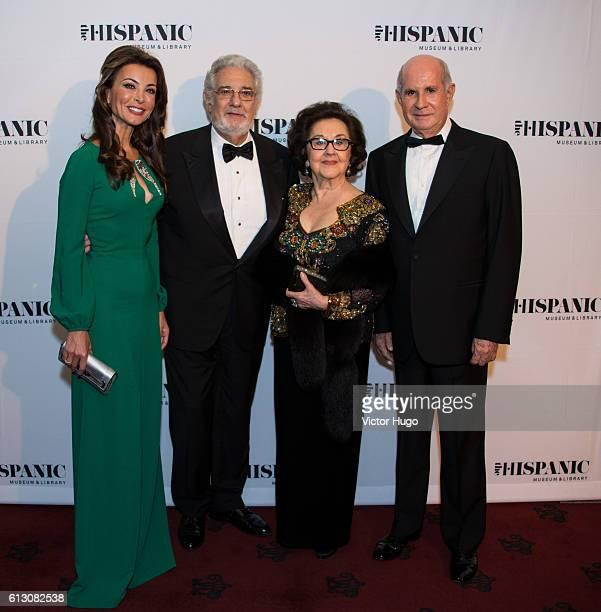 Silvia Gomez Guetara Placido Domingo Marta Domingo Juan Antonio Perez Simon attend The Hispanic Society Museum and Library 2016 Gala at Metropolitan...