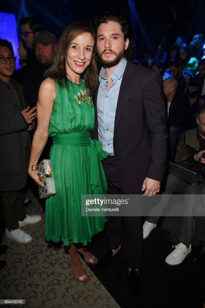 Silvia Grilli and Kit Harington attend the Dolce & Gabbana show during Milan Men's Fashion Week Fall/Winter 2018/19 on January 13, 2018 in Milan, Italy.