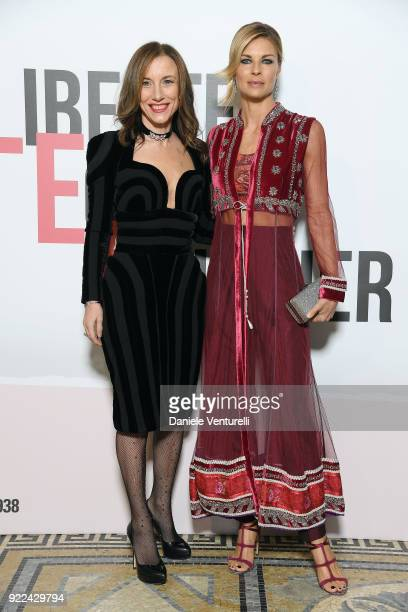 Silvia Grilli and Martina Colombari attend 'Grazia Scandal' party during Milan Fashion Week Fall/Winter 2018/19 on February 21 2018 in Milan Italy